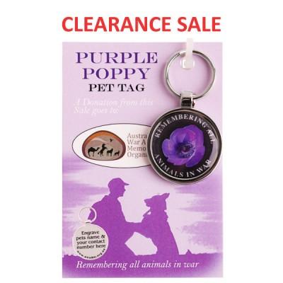 Purple Poppy Pet Tag - On Card